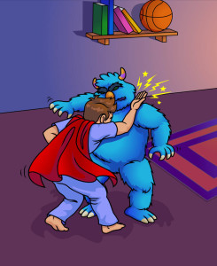Pete karate chops the blue monster