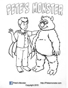 Pete's Monster black and white drawing